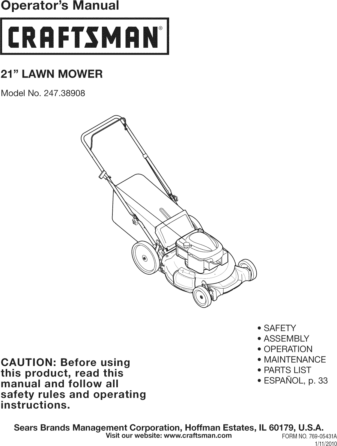 craftsman lawn mower user manual